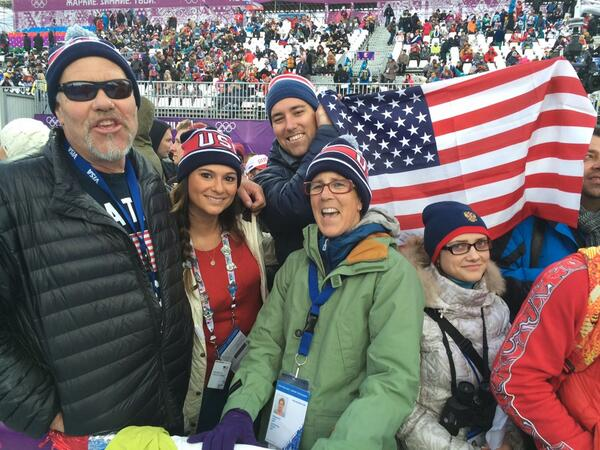 Wearing the red, white & blue: Family of US' Brita Sigourney, in 1st after qualifying run #1 http://t.co/uNAVhaA0Xc