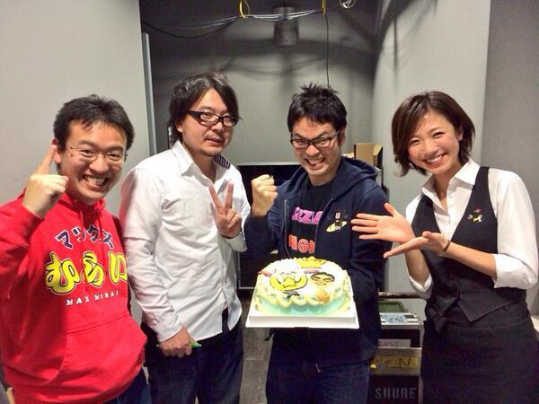 5時間に及ぶパズドラ生放送、奇跡の瞬間に司会として居合わせられたことに感激しっぱなしでした♫山本さん、村井さん、大塚さんと記念撮影!ありがとうございます^_^ #パズドラ http://t.co/hnykCygWsG