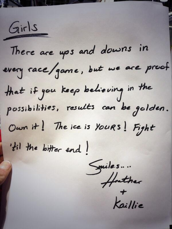 Read the note @HeatherMoyse & @BobsledKaillie wrote to the @HC_Women to read before puck drop #cbcolympics http://t.co/nT8eUk1RgT