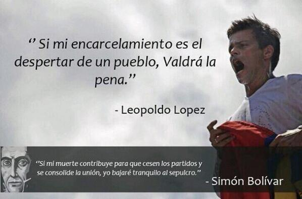 RT @isonmayu @LeopoldoLopez demostró Mucha Valentía, Es digno descendiente del Libertador y del 1er Presidente http://t.co/73Xo6h2ZdO