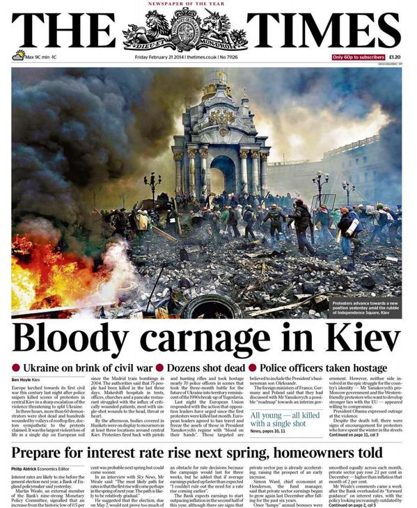 Primera página de mañana del Times de Londres. Kiev, tierra quemada http://t.co/bchyjEztiG