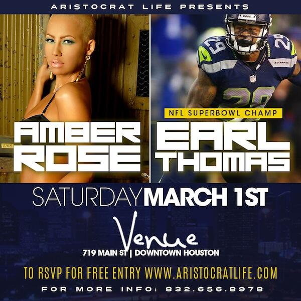 Amber Rose @DaRealAmberRose & SuperBowl Champ @Earl_Thomas at VENUE Sat March 1st ... Turn up! http://t.co/mSynAr8Zfj