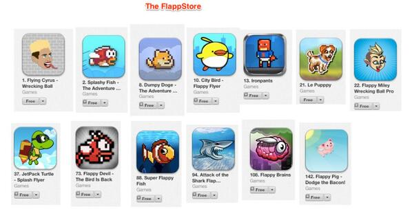 update: 13, not 11. i.e. about 10% of the app store top 150 is owned by clones of Flappy birds http://t.co/FHcLYT5KYL