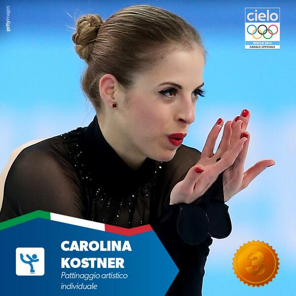 Una grafica con un primo piano di Caronina mentre esegue un passo di danza e soffia sulle mani è perfetta come al solito le scritte indicano la specialità e la medaglia di bronzo