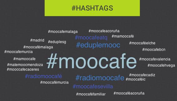 Nube de hashtags #MOOCafé y sedes en #eduPLEmooc http://t.co/FsaHAv3uFw