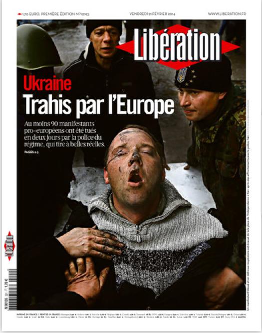 """La portada de #Libération: """"#Ucrania, traicionada por Europa."""" http://t.co/8Qj7n5bB6K"""