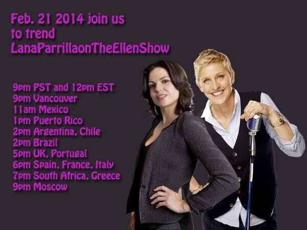 #EvilRegals Don't forget tomorrow to trend Lana Parrilla on The Ellen Show! I'm sure Ellen would love the EvilQueen! http://t.co/oknjftvTTJ