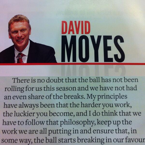 David Moyes cites bad luck for Man Uniteds poor season in his programme notes v Fulham [Picture]