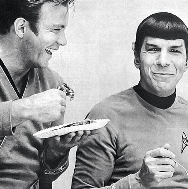 "RIP  ""@refocusedmedia: Always loved this photo of William Shatner & Leonard Nimoy enjoying some pie together https://t.co/yVBw3p5aBE"""