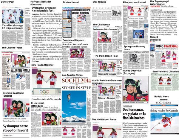 Les soeurs Dufour-Lapointe, saveur médiatique du jour dans le monde. Auj. 3 X le poids médias inter. du Qc en entier http://t.co/LgtQjLN8QH