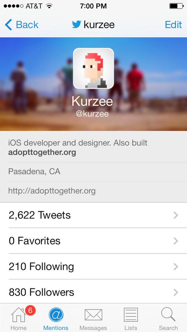 Another #sneakpreview of the highly requested banner view on profiles. New in the upcoming version of Echofon iOS. http://t.co/CejqLXmBuX