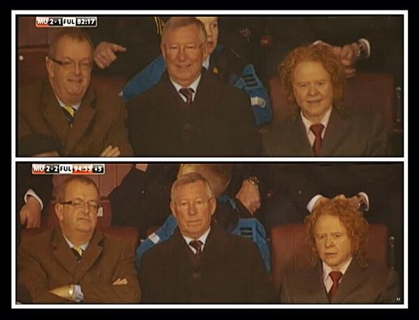 Photo comparison: Sir Alex Fergusons reaction at 2 1 and 2 2 during Man United v Fulham [Picture]