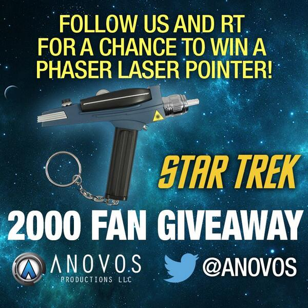 #StarTrek fans: RT & FOLLOW @ANOVOS for a chance to win a phaser laser pointer on 2/11/14! #LandingPartyFun #LLAP http://t.co/36o0uIYxpi