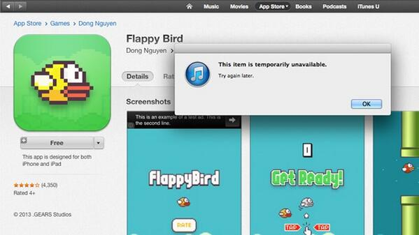 Goodbye Flappy Bird; developer removes game from iOS/Android app stores - http://t.co/4URekykEWC via @rapplerdotcom http://t.co/ytjEF5Lxxo
