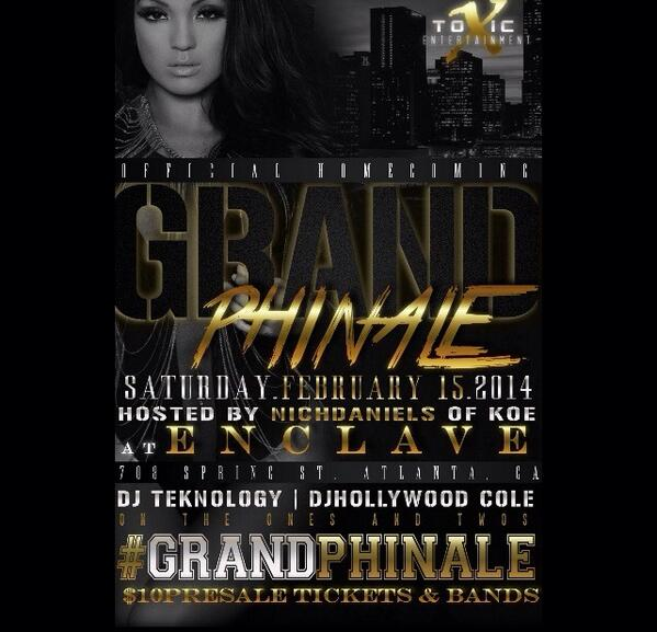 #Enclave this Saturday night  •708 Spring St. ATL• #GrandPhinale OFFICIAL HOMECOMING PARTY http://t.co/k111tWsPZy