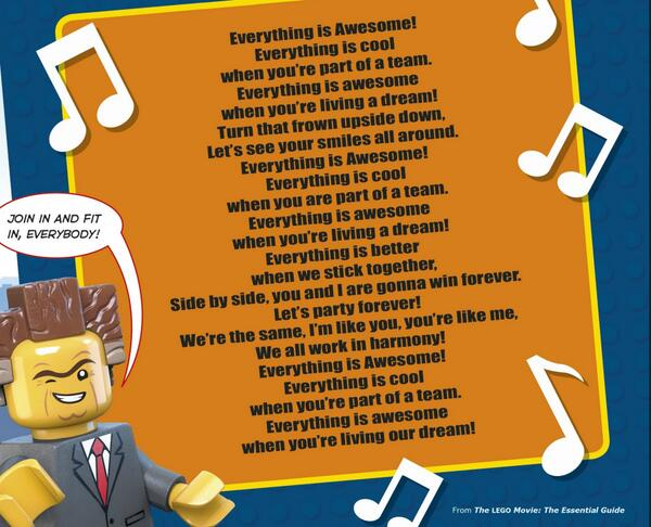 """Can't get """"Everything is Awesome"""" out of your head after seeing #TheLEGOMovie? Here are the lyrics! http://t.co/nuRnvCFhRY"""