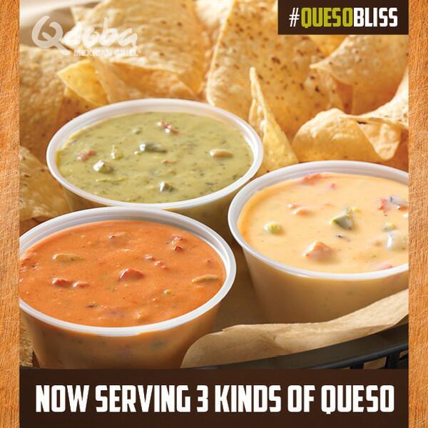 We now serve THREE kinds of Queso. Eat your heart out. #QuesoBliss http://t.co/R2ejEpFRm9