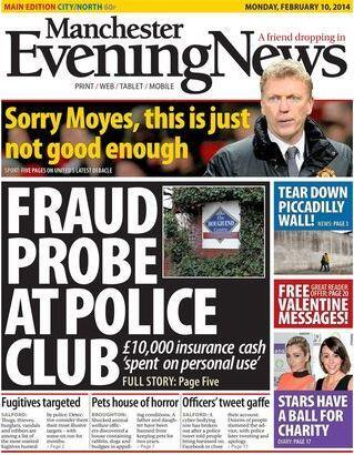 Manchester Evening News front page: Sorry Moyes, this is just not good enough [Picture]