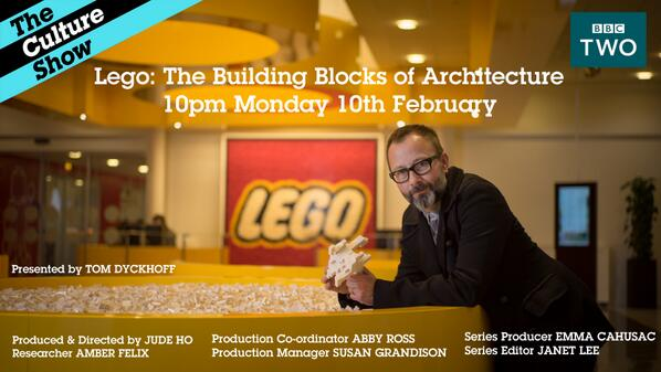 Tonight on @BBCTwo 10pm Lego – The Building Blocks of Architecture http://t.co/6E75f9Akw9 http://t.co/4JRDJbp7Pr
