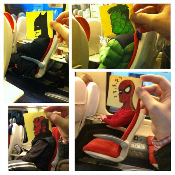 أعجبني كيف يقضي الرسام جو بوتشر وقته في المترو او في الطائرة.!! http://t.co/4JLs2EoTOt