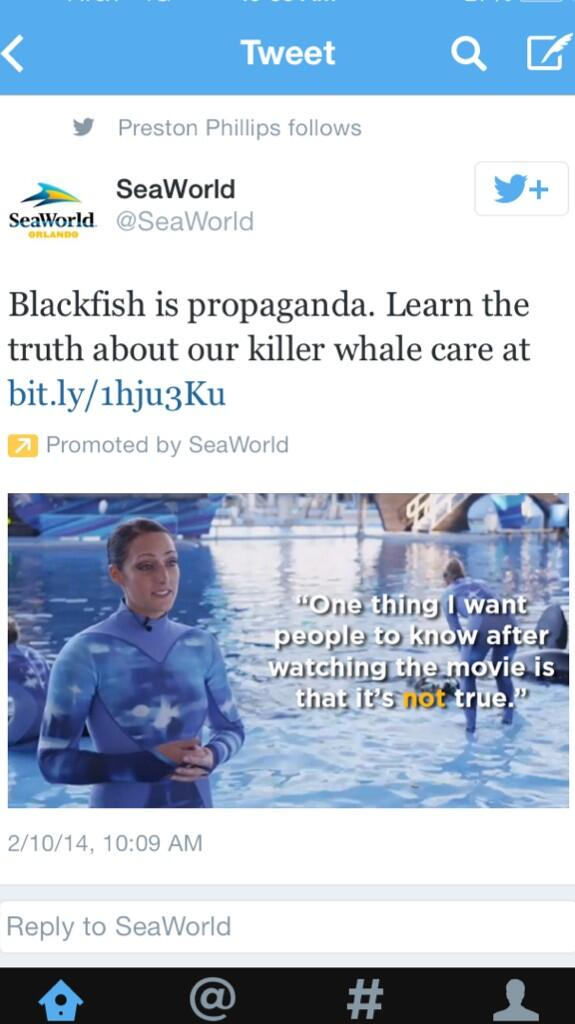 For all the talk that @SeaWorld was not bothered by Blackfish, it's filling my Twitter feed with ads like this. http://t.co/oU02ChOcke