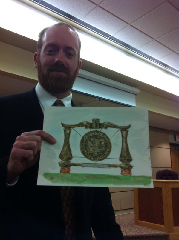 #Pottstown Councilman Ryan Procsal with a drawing he did of a design for possible signs @ Boro gateways. http://t.co/vwMbTWcjh7