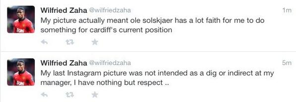 Wilfried Zaha attempts to explain his Instagram post directed at Man United boss David Moyes [Tweet]