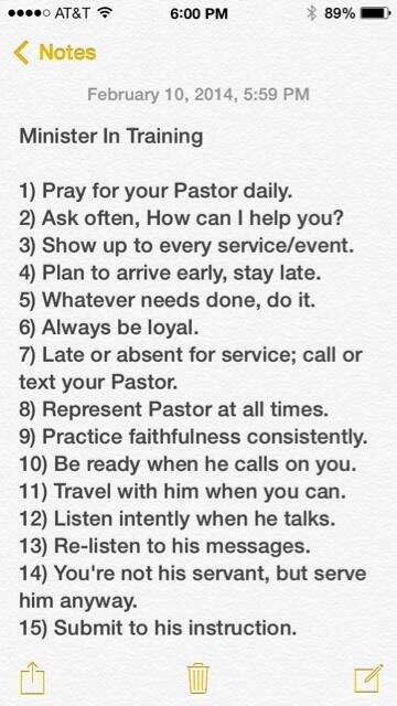 Are you a Minister In Training? 15 things to help you get the most out of your relationship with your pastor. http://t.co/4qs4Dy4vqG