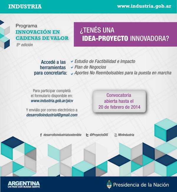 Aportes no reembolsables de hasta $100 mil para puesta en marcha de proyectos innovadores via @ProyectoDIS http://t.co/dAjEa9EIRB