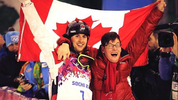 Great moment @Sochi2014 Canadian skier Alex Bilodeau winning gold; then celebrating w/his brother w/cerebral palsy. http://t.co/7XH0dkytGv