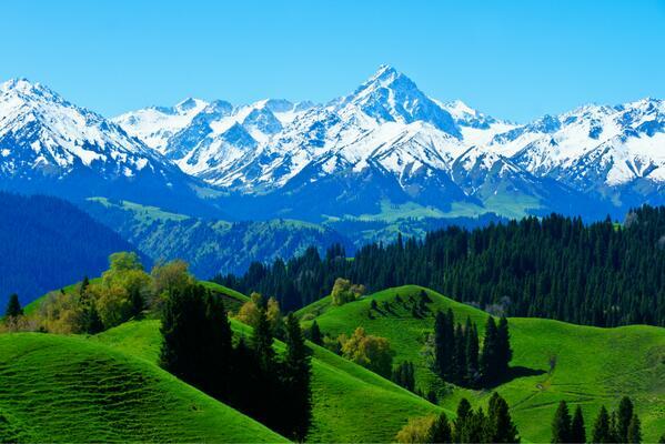 クロトニンから見る天山山脈。天山山脈は、キルギス、カザフスタン、新疆ウイグル自治区にまたがる、中央アジアを代表する山脈。(新疆ウイグル自治区)
