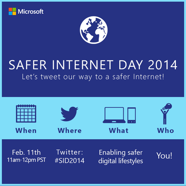 Our Safer Internet Day Twitter Party is TODAY at 11am PT! Use #SID2014 to join: http://t.co/KfGsa4sk8m