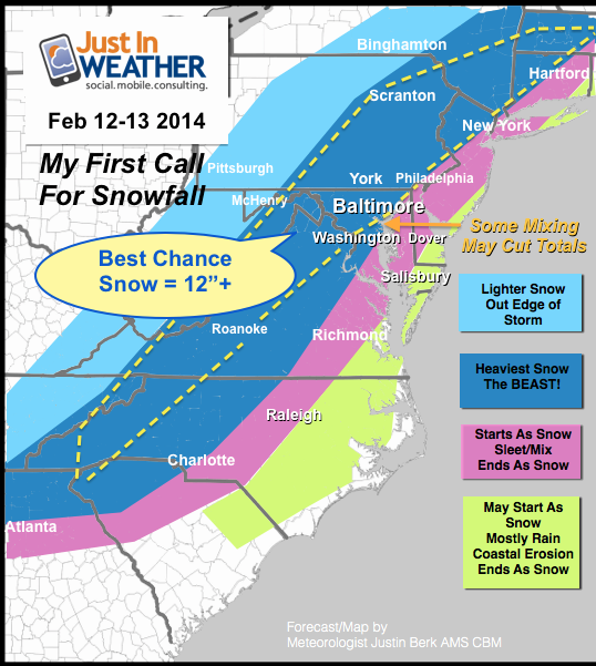 My first (reg) Call for Snowfall. Baltimore/Washington stay mostly snow= 1 Ft+ Sleet mixing near Bay will cut totals http://t.co/emYeTUVQSy