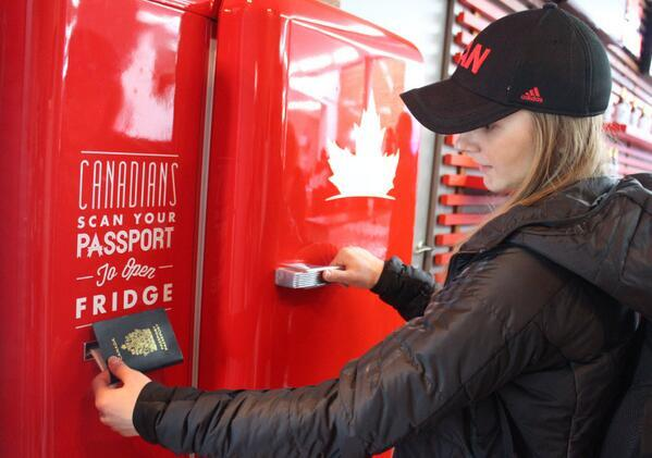 Team Canada has a #beer fridge that can only be opened with a Canadian passport http://t.co/kSE9bUAWpb http://t.co/F1itTl2f1H