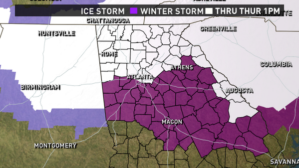 ICE STORM WARNING for counties in purple.  First ice storm warning issued in our area since 2005.  #11Alive http://t.co/NNeRAdwx9O