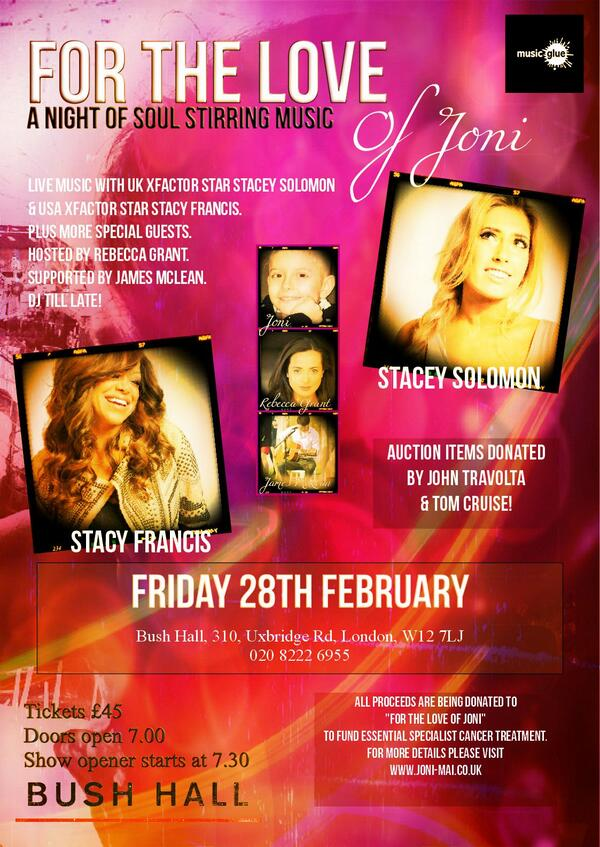 PLEASE RT  The incredible @StacyFrancis @StaceySolomon perform live n London! http://t.co/OsSx0wUmaY … @beverlyknight http://t.co/bvgK9yJaU3