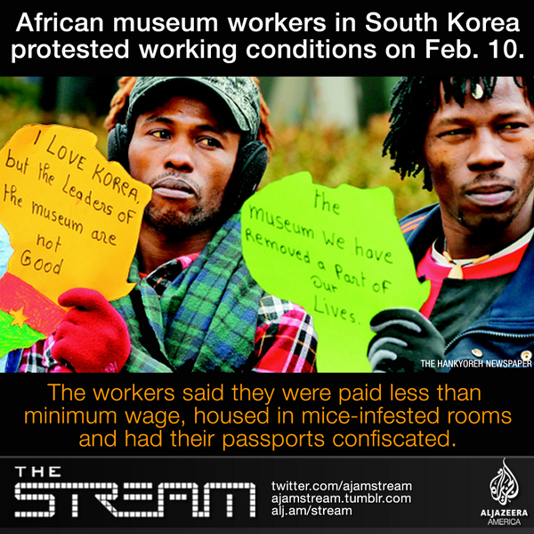 Thumbnail for African workers hold tear-filled press conference.