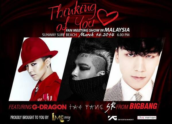 BIG BANG's G-Dragon, Taeyang and Seungri  are coming to Malaysia on 16 March 2014!!!!!!   http://t.co/PESifturk8