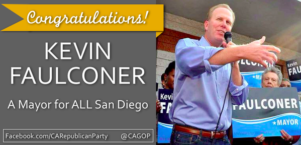 Great night for @CAGOP and a great victory for @Kevin_Faulconer in #SDMayor race! Terrific team effort! http://t.co/tWrabV3G3L