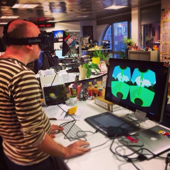 Flappy Bird for Occulus Rift, demonstrated by @mmalex - one of the flappy jam games! http://t.co/N9xTHwIeai http://t.co/glU2a6AmuM