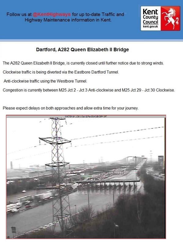 Dartford,A282 Dartford Crossing: The A282 Queen Elizabeth II Bridge is closed due to strong winds.Please see attached http://t.co/GBryFHlZdE