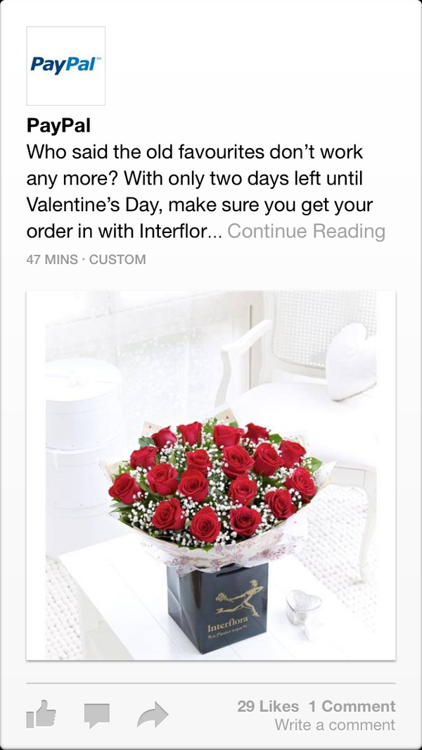 I see Facebook's Paper app has now started adding ads cc: @viticci http://t.co/kwlhEu3KaN