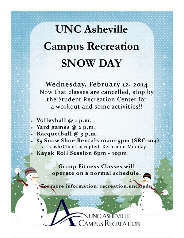 It's not too late! @Campus_Rec has snow shoe rentals until 5 pm. Check out their #snow day activities. #uncavl http://t.co/M2F1n9nfnD