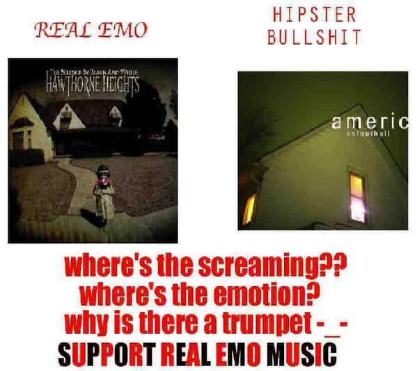 """Hilarious comparison to Hawthorne Heights are """"real emo"""" & American Football are """"hipster bullshit"""". #TrumpetsAreOk http://t.co/xpXb0o88t6"""