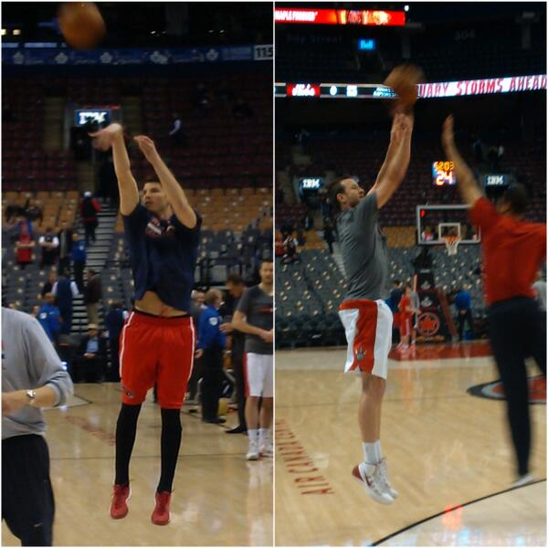 Two of the league's best from long distance warming up at Air Canada Centre. 30 mins to #Raptors vs. Hawks. #RTZ http://t.co/qyeA90JsWo
