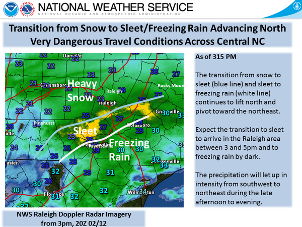 330 pm- Transition from snow to sleet to freezing rain continues to advance north. Arrive in Raleigh 4-5pm. #ncwx http://t.co/QKwiOlYIWN