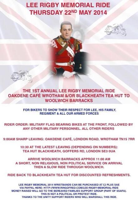 Lee Rigby Memorial Ride 22nd May 2014. Please share this flyer/poster and print at will! http://t.co/LbUEpM4UDR http://t.co/lMeHUa0Xiy