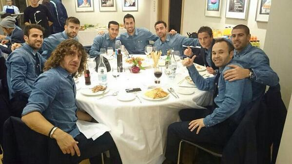 Andres Iniesta posts Copa final qualification pic of Barcelona team meal in matching denim shirts