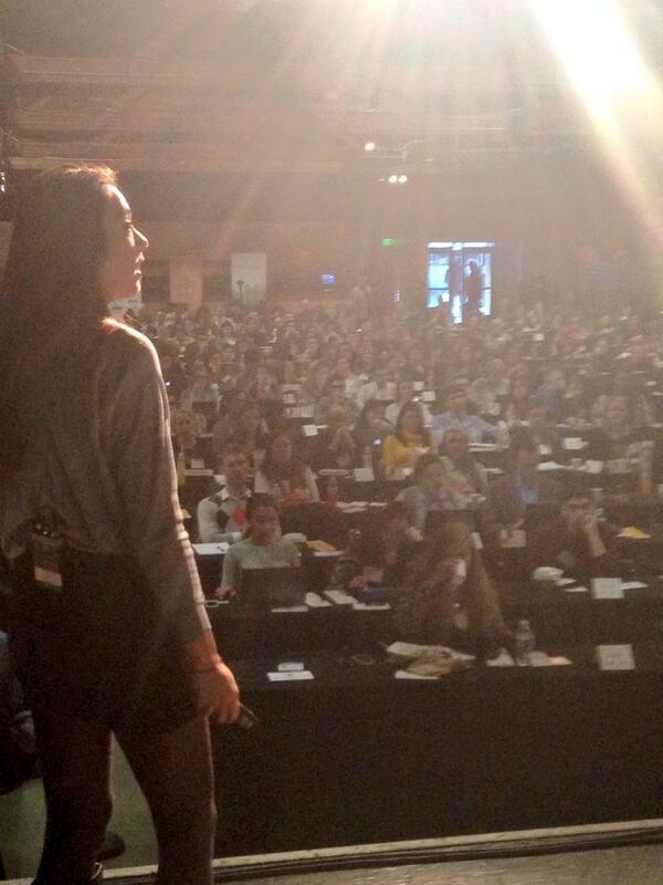 Backstage view of @wongweezy as she addresses the #INNW2014 crowd. She's awesome, btw. http://t.co/L9Zxv9LUC2