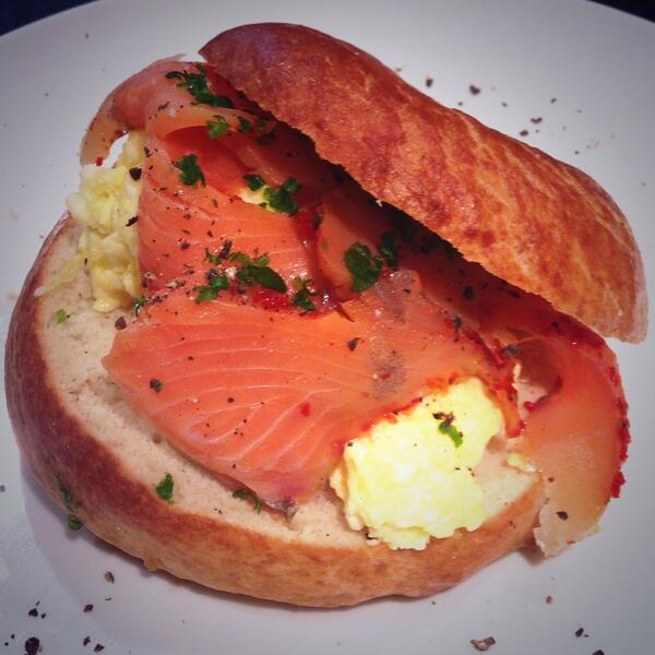 try our new bagelwich creation - filled with smoked salmon and eggs scrambled to perfection :) #yummy http://t.co/3G2lsVfQEq